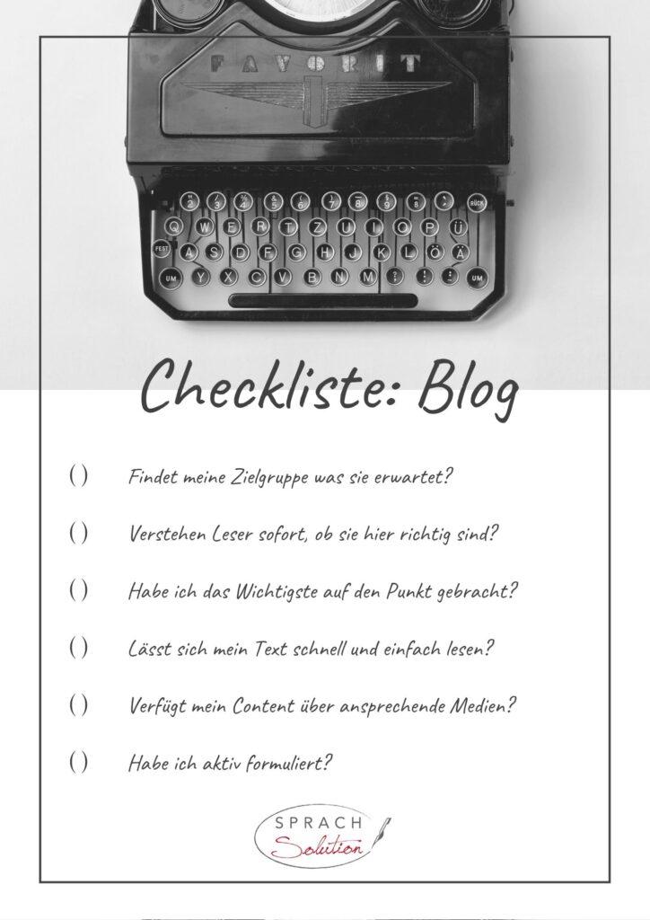 Checkliste Blog Onlineauftritt
